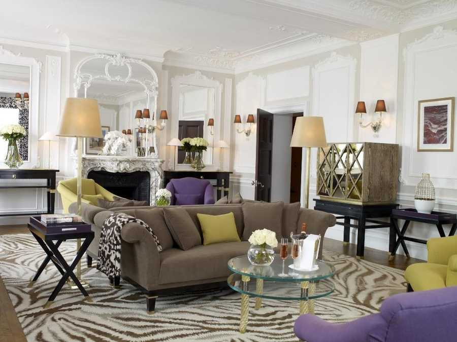 Claridge's, London, England: Located less than a mile from the boutiques on Mount Street, this London landmark hotel is every fashionista's dream. Designed by Diane von Furstenberg, the Grand Piano Suite pays homage to the designer boasting vibrant touches of gold and magenta decor, plush furniture, and signature animal prints. Additional amenities include a 37-inch pop-up television and custom-designed bathrobes. Nightly rates for the suite are around $6,500.
