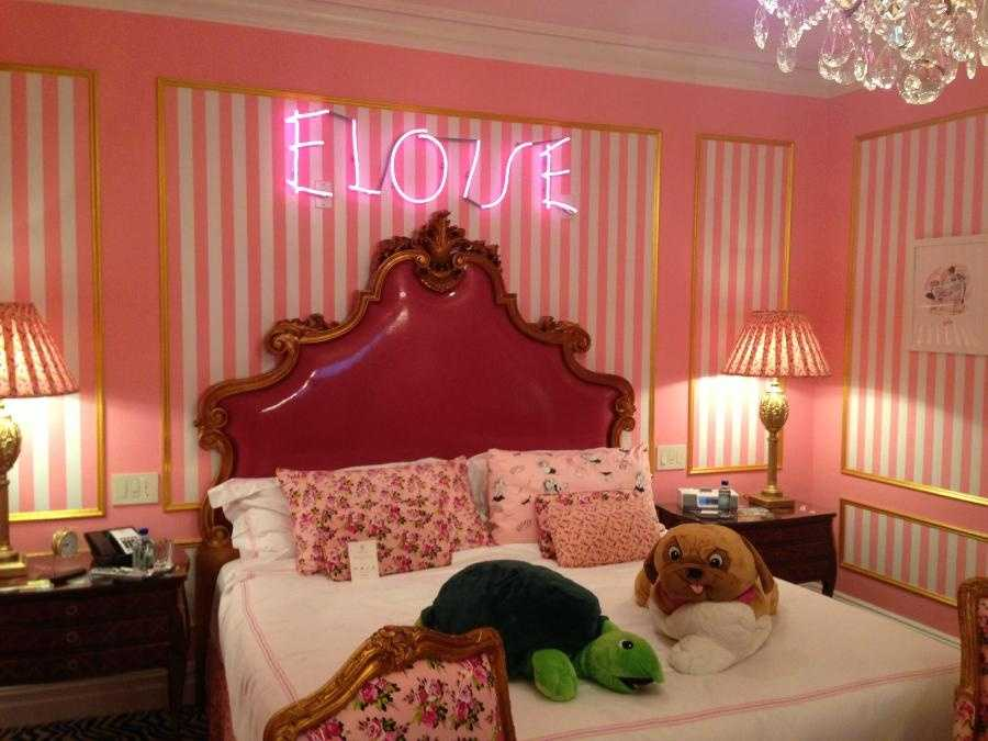 """The Plaza Hotel, New York City, New York: In the heart of the Big Apple, guests can enjoy the Eloise suite at the Plaza Hotel, created by fashion designer Betsey Johnson. This unique accommodation captures the spirit of the hotel's most famous """"resident"""" – the fictional character from Kay Thompson's classic novels. The colorful suite is outfitted with whimsical decorations and upon arrival guests will be escorted by an Eloise ambassador. Nightly rates start at $995 for the suite."""