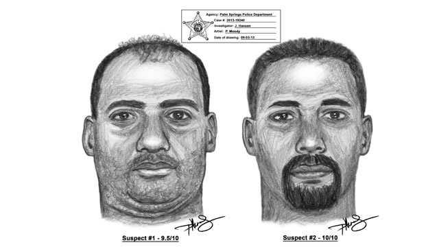 These are sketches of the men who kidnapped and raped a woman in Palm Springs.