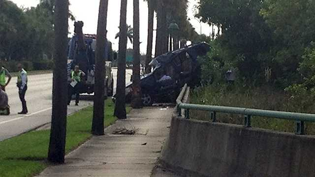 One man was taken to a hospital after a crash in West Palm Beach on Thursday morning.