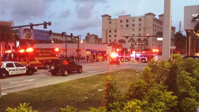 Nine people were hurt in this head-on collision at Okeechobee Boulevard and Dixie Highway in downtown West Palm Beach.