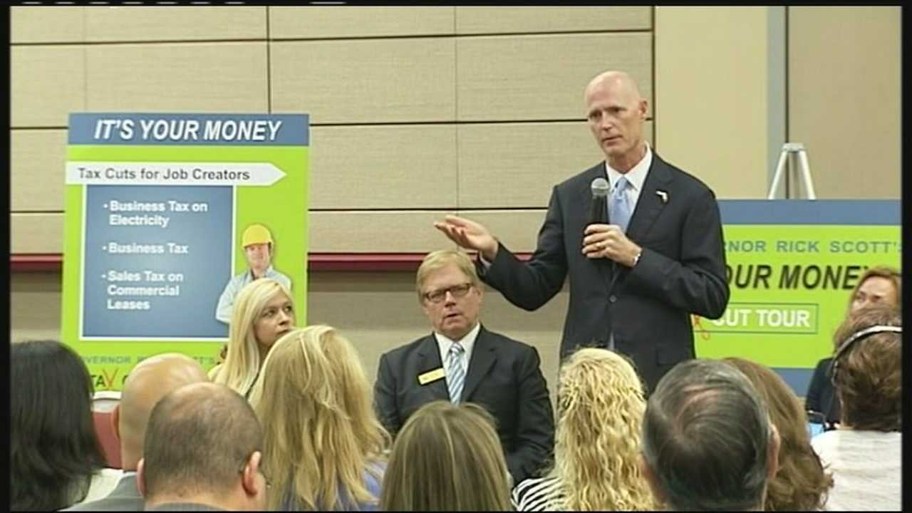 Gov. Rick Scott comes to West Palm Beach to hear from mostly business leaders about which taxes to cut.