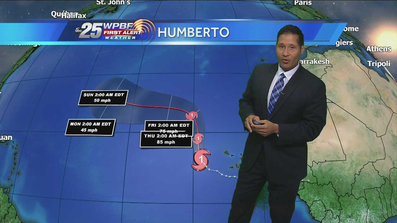 WPBF 25 First Alert Weather meteorologist Cris Martinez is tracking Hurricane Humberto, Tropical Storm Gabrielle and another system with a slight chance of development.