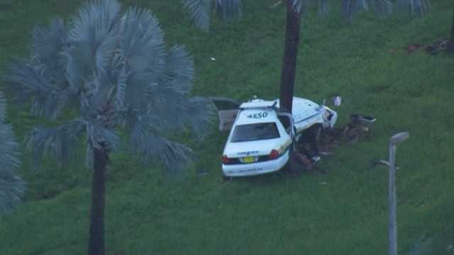 A deputy-involved crash closed a stretch of southbound Interstate 95 in Pompano Beach.