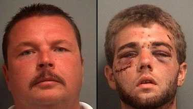 Jupiter Police Officer Kevin Jacko (left) is facing criminal charges after he was caught on video allegedly beating a suspect named Cody Blankenship back in June.