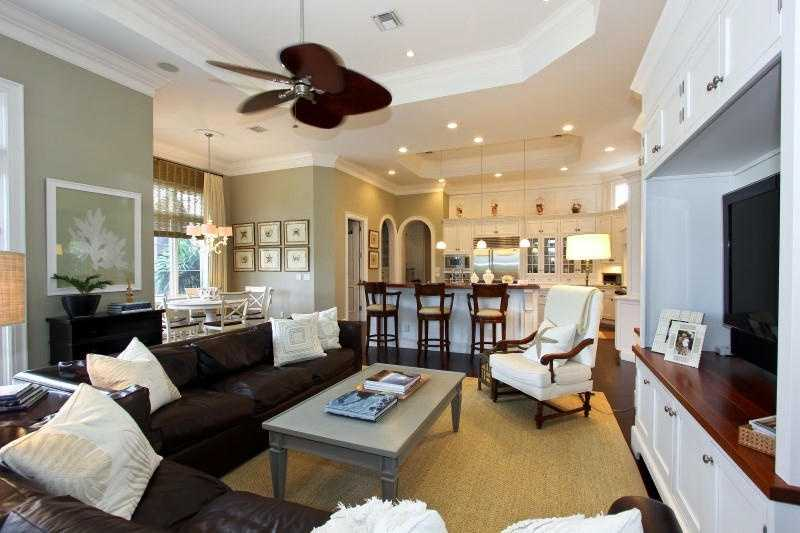 The kitchen spills over into the family room.