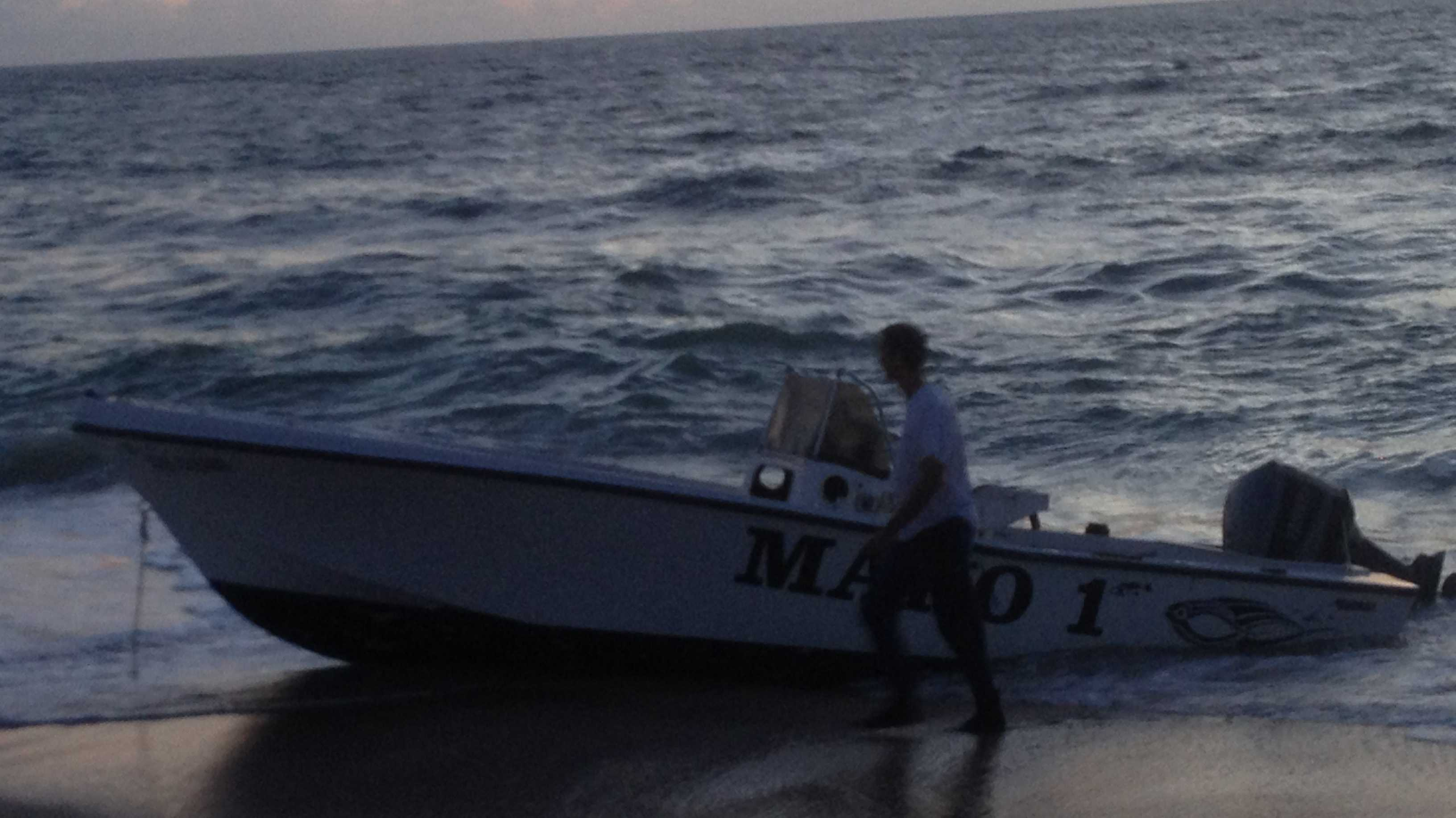 Here's the boat that agents say transported 10 undocumented migrants to Manalapan early Thursday morning.