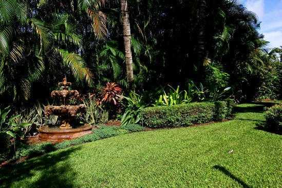 View of the Tuscany gardens--the landscape on this property is meticulously groomed.