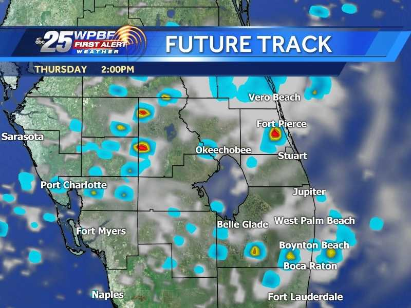 Check the WPBF 25 First Alert Future Track for an hour-by-hour look at when heavy rain might reach your area Thursday.