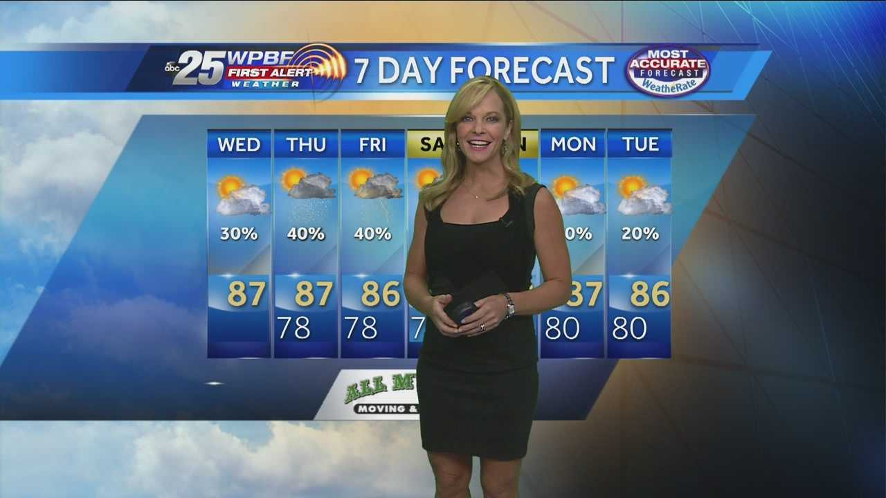 WPBF 25 First Alert Weather meteorologist Sandra Shaw says there is a slight chance of rain this afternoon, but rain is more likely in the coming days.