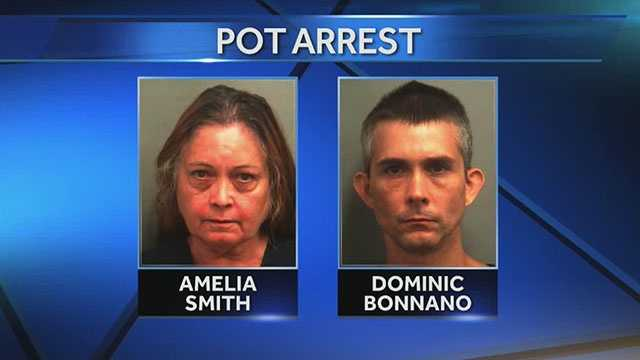 Amelia Smith and her son, Dominic Bonnano, are accused of growing pot in their backyard in West Palm Beach.