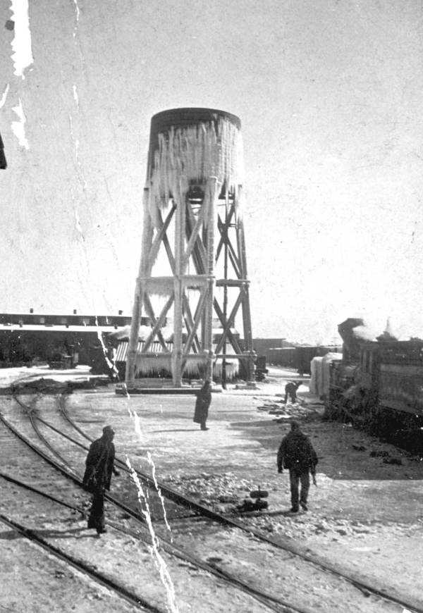 Icicles hanging off of a water tank in Pensacola. Photograph taken in 1899.  Florida's record high snowfall happened right off Pensacola. The record was four inches high on March 6, 1954, according to the the National Climatic Data Center.