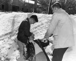 Florida State University students playing in the snow.  Photograph taken in 1958.
