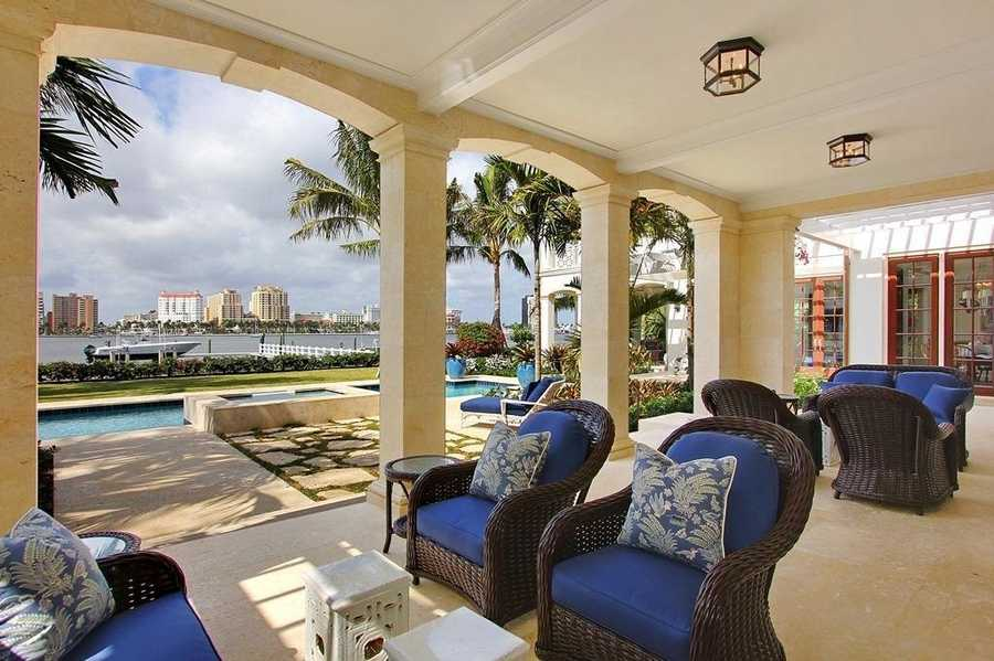 This gorgeous door area sits right on the water and minutes from the property's private yacht deck.