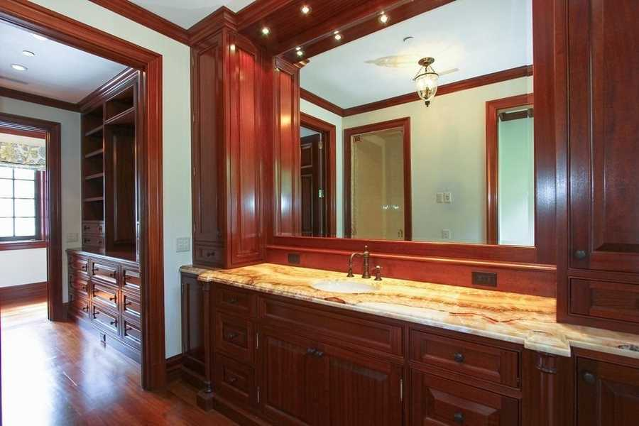 Marble topped vanity in the master bathroom as well.
