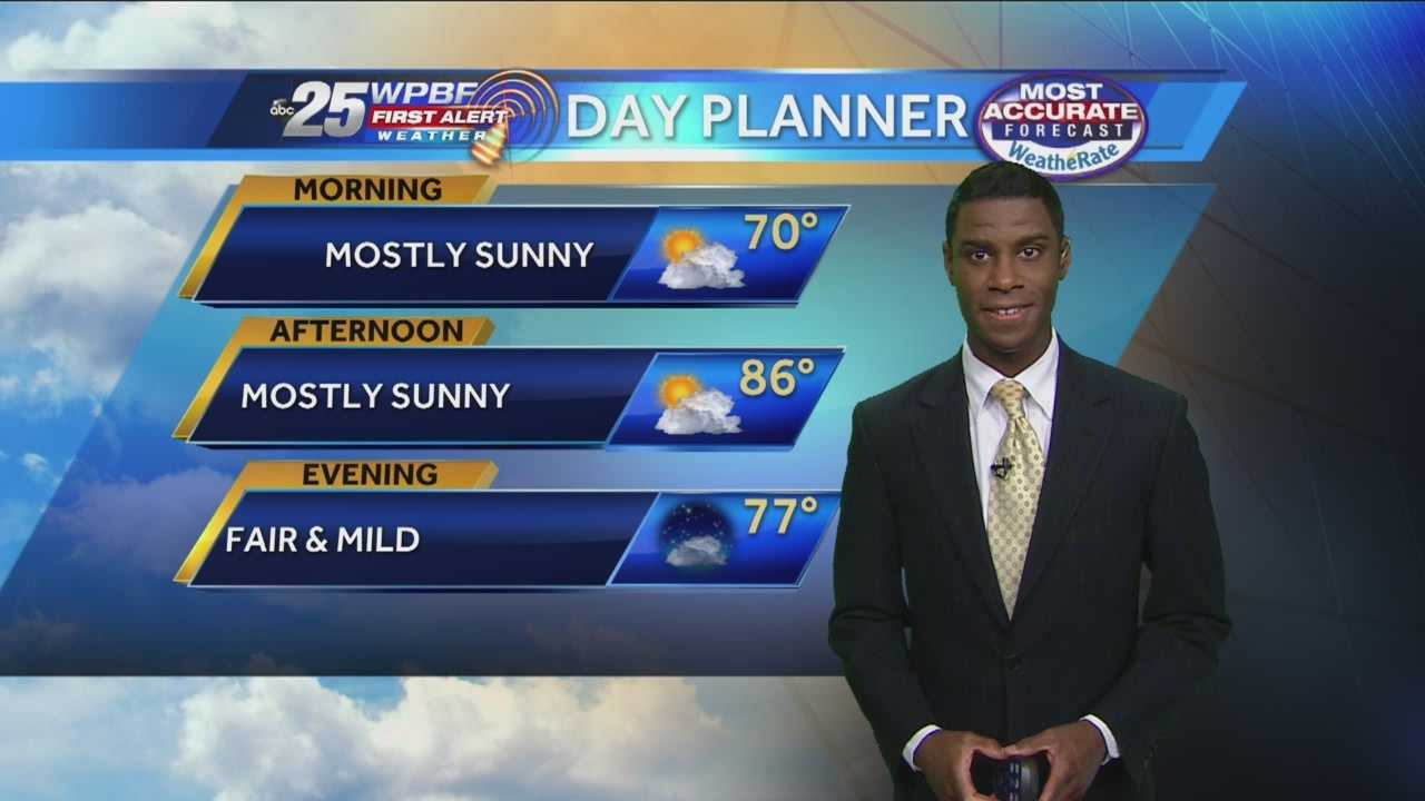 Justin says a gorgeous Saturday is ahead on the Palm Beaches and Treasure Coast.