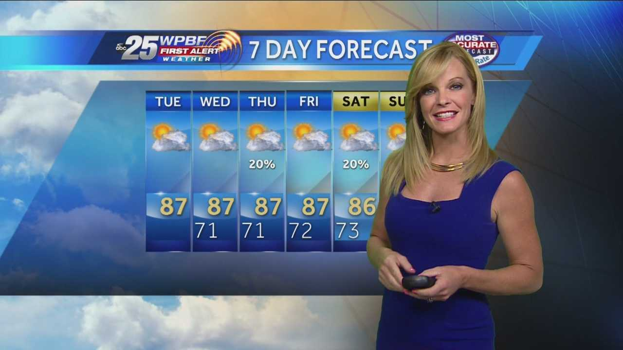 Sandra says another comfortable is on tap around the Palm Beaches and Treasure Coast.