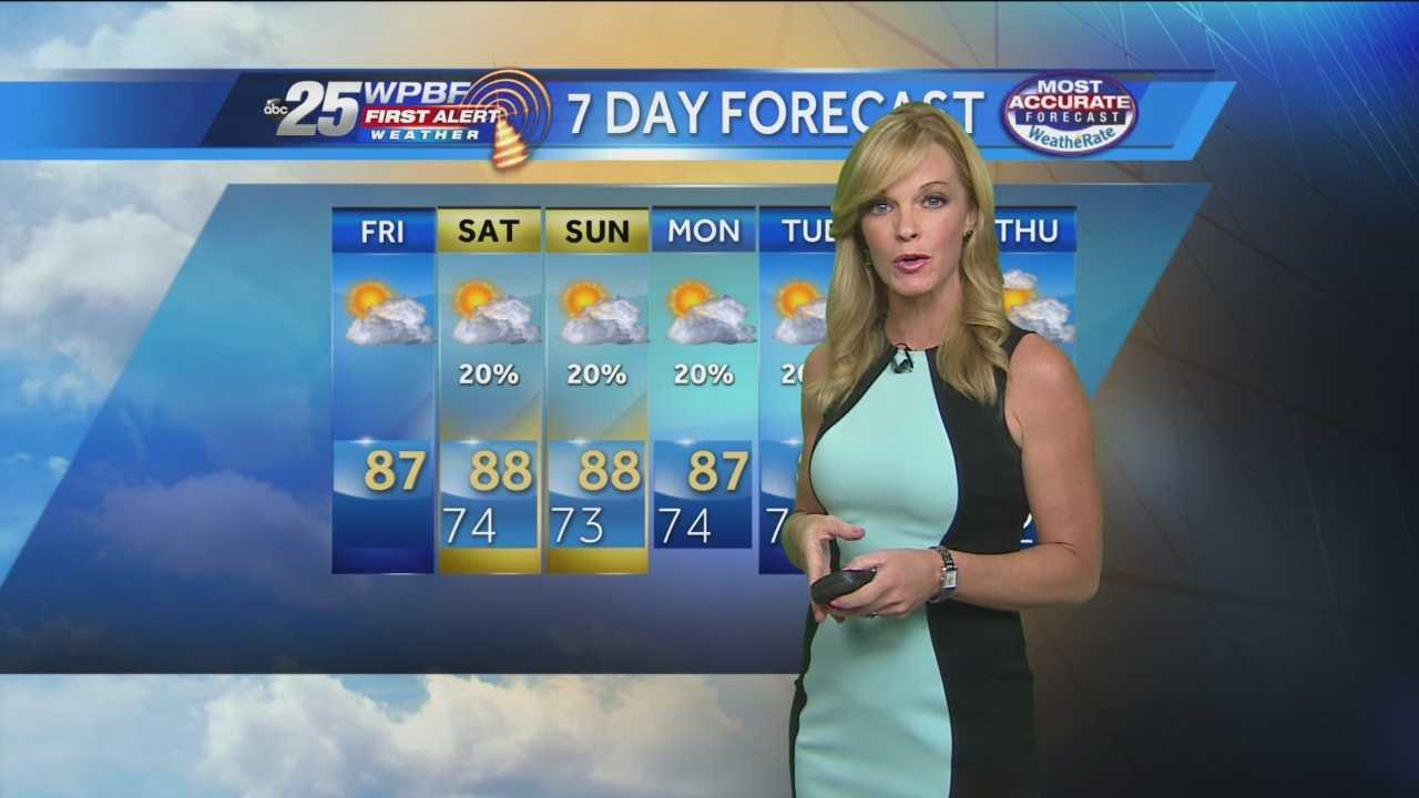 Sandra Shaw says a nice weekend is ahead for the Palm Beaches and Treasure Coast.