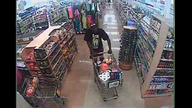 Surveillance video shows a man who used a St. Lucie County sheriff's deputy's stolen credit cards at a Publix.