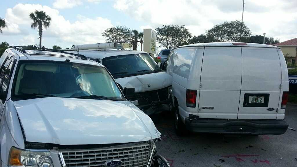 A driver suffered a fatal heart attack, crashing his van into several vehicles in this day care parking lot.