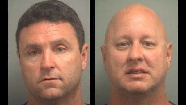 Christopher Donlan (left) and John Millspaugh are accused of beating a man unconscious outside the Two Georges restaurant in Boynton Beach.