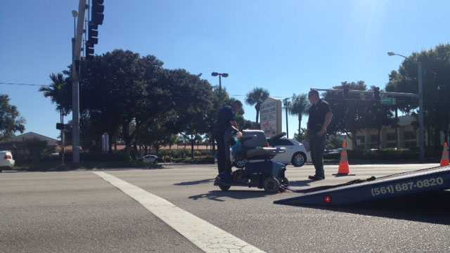 A woman in a motorized chair was flown to Delray Medical Center after she was struck by a truck in Palm Springs.