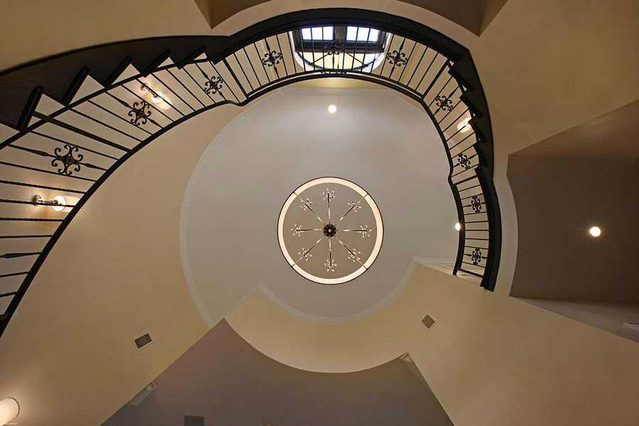 The winding staircase is breathtaking.
