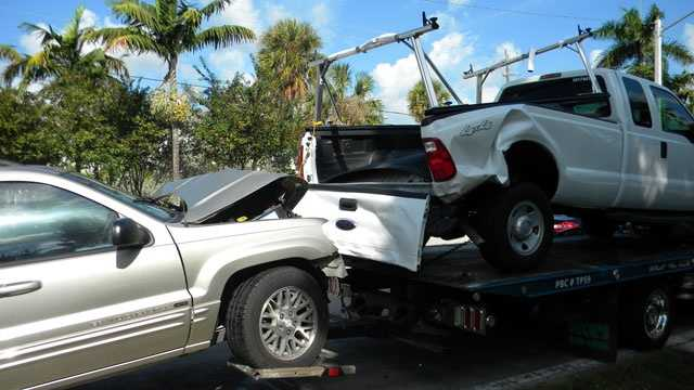 The drivers of this SUV and pickup truck were taken to a hospital after a collision in Delray Beach.