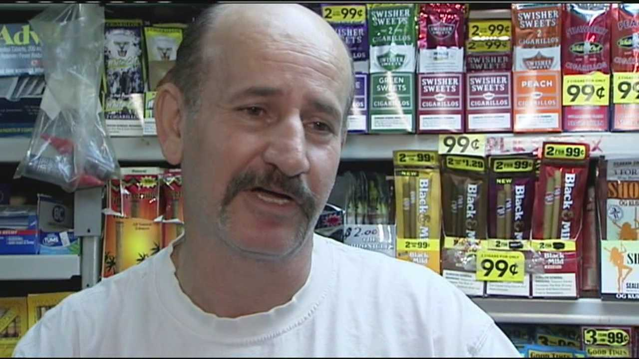 Three O's store clerk Sam Said was forced to use the gun he keeps under his counter when a robber pointed a gun at his face.