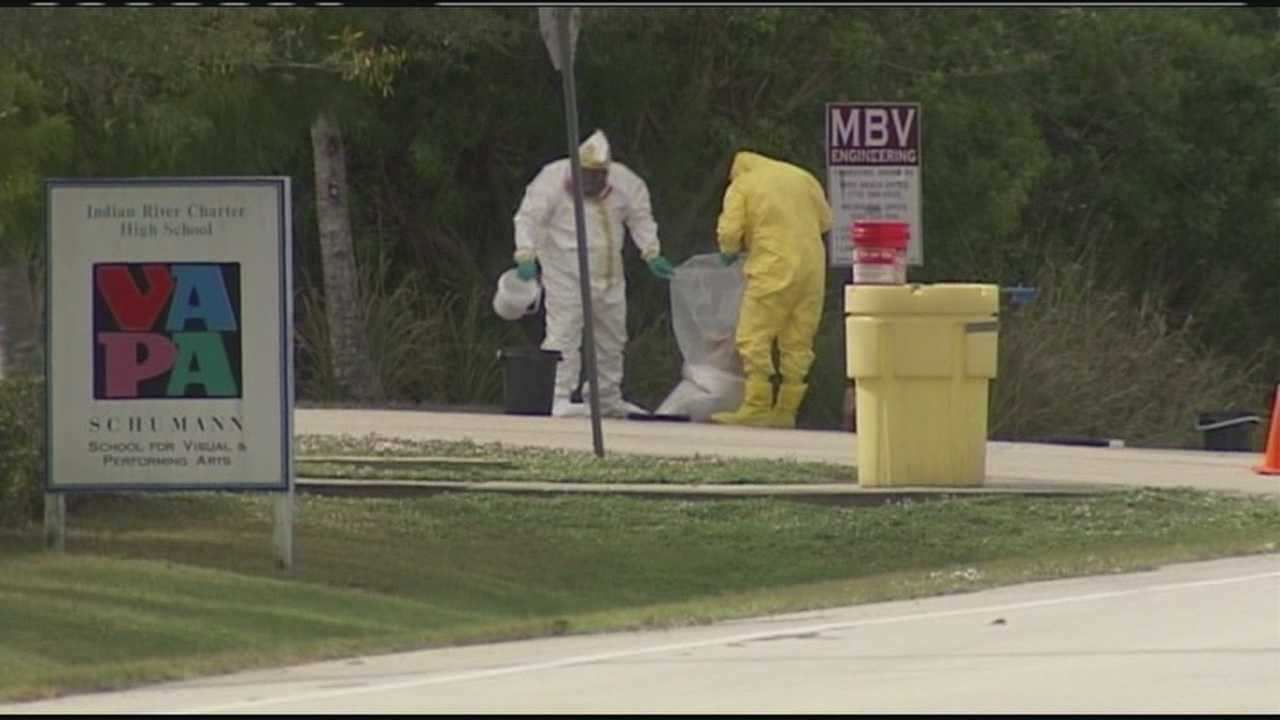 A portable meth lab is discovered inside a backpack near Indian River Charter High School on College Lane in Vero Beach.