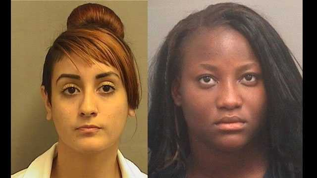 Abigail Benitez (left) and Lousette Sena are accused of setting fire to a classmate's Lantana home.