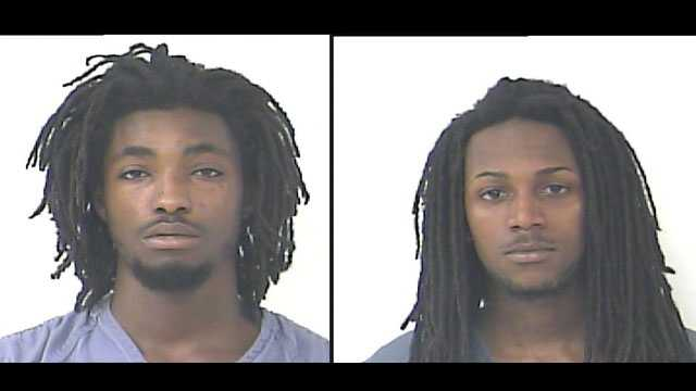Terrance Green (left) and Exzabiar Gregg are accused of threatening a couple with an AK-47.