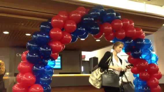 Palm Beach International Airport gives a warm welcome to the first passengers on an American Airlines flight from Los Angeles.