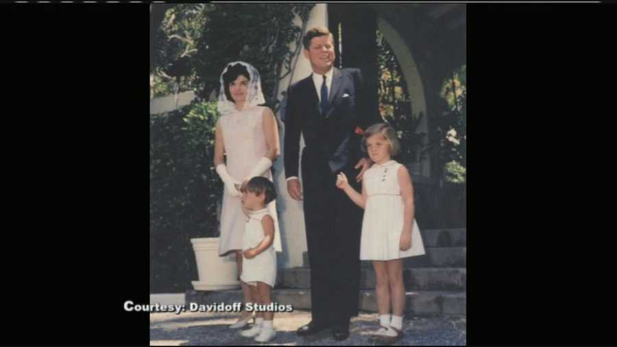 JFK poses with wife, Jackie, and children, John Jr. and Caroline, before Easter mass in 1963.