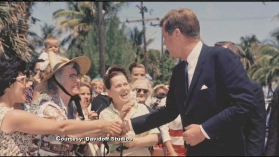 The president shakes hands with his supporters during a trip to Palm Beach in the 1960s.