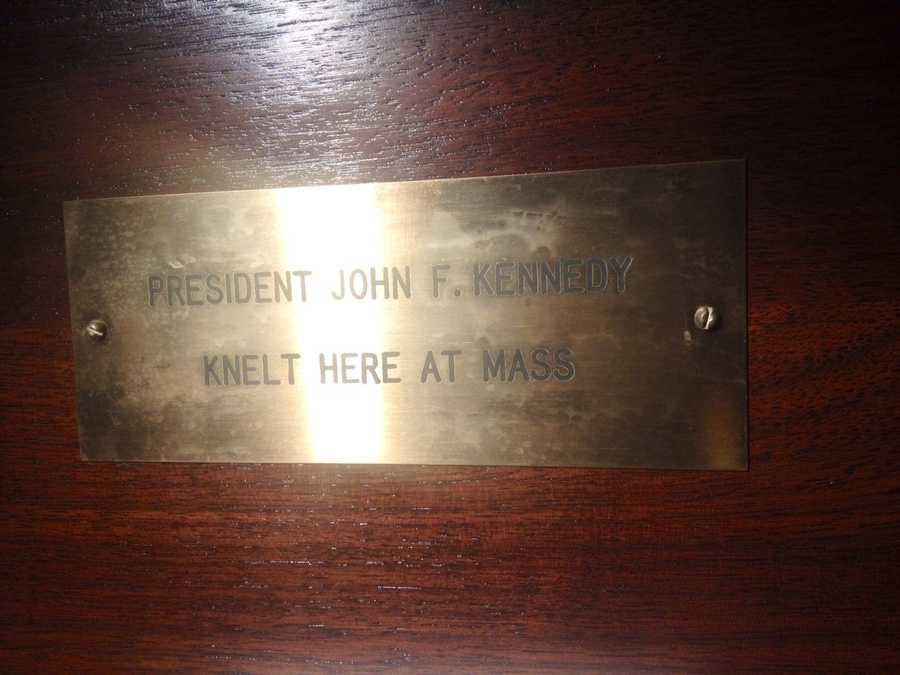 JFK regularly attended mass at St. Edward Roman Catholic Church when he visited Palm Beach. This plaque commemorates where the president knelt during services.