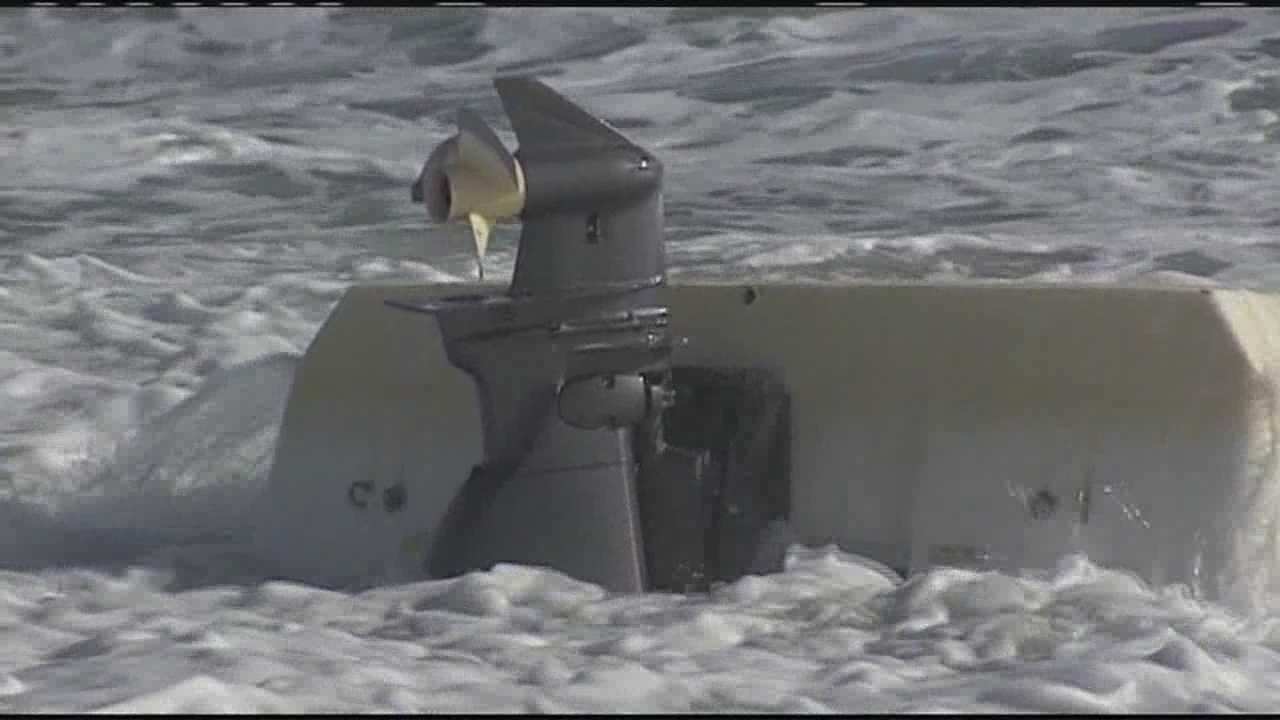Sheriff William Snyder said this boat capsized while four suspected drug smugglers attempted to come ashore in Hobe Sound.
