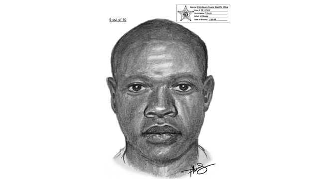 This is a sketch of a man who robbed someone while walking in Mangonia Park.