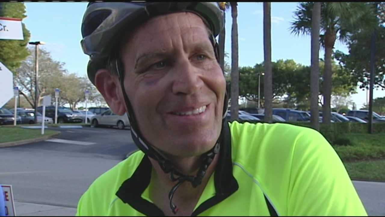 Brent Hayes rode his bicycle more than 900 miles from Ohio to West Palm Beach.