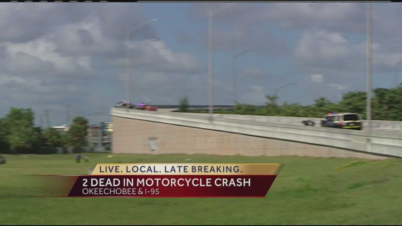 Two people died Friday after the motorcycle they were on crashed and sent them over the ramp from westbound Okeechobee Boulevard onto southbound Interstate 95.