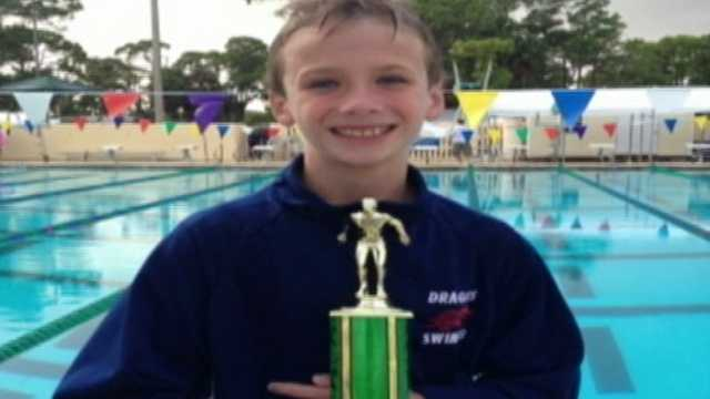 After winning first place in a recent swim meet, 9-year-old Josh sent the trophy and a get well note to 10-year-old Reese, a swimmer on another team, who was unable to compete due to a mysterious illness.