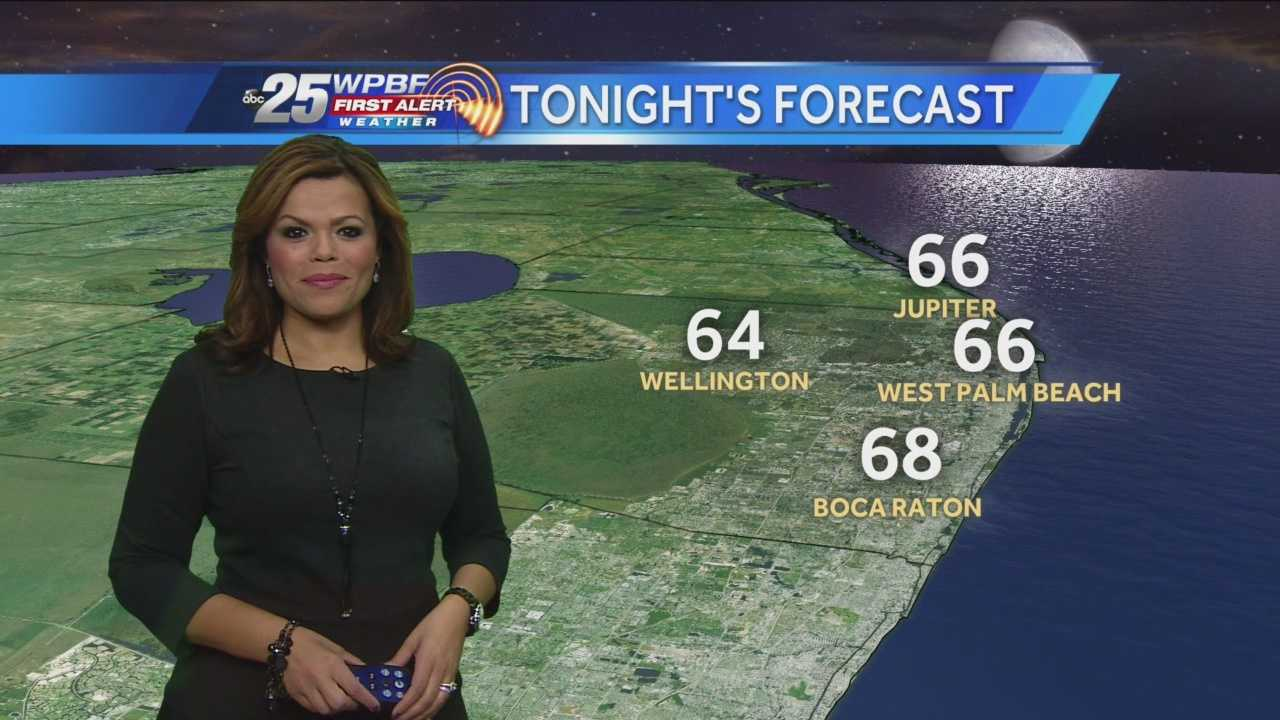 Felicia says the overnight showers have moved off shore and Thursday will be dry and a little cooler with highs in the 70s.