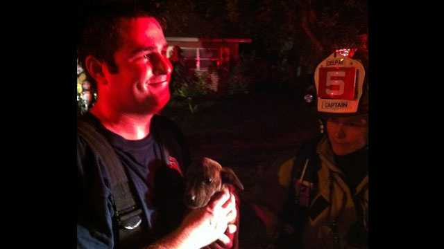 A firefighter holds a puppy that was rescued from a house fire in Delray Beach.