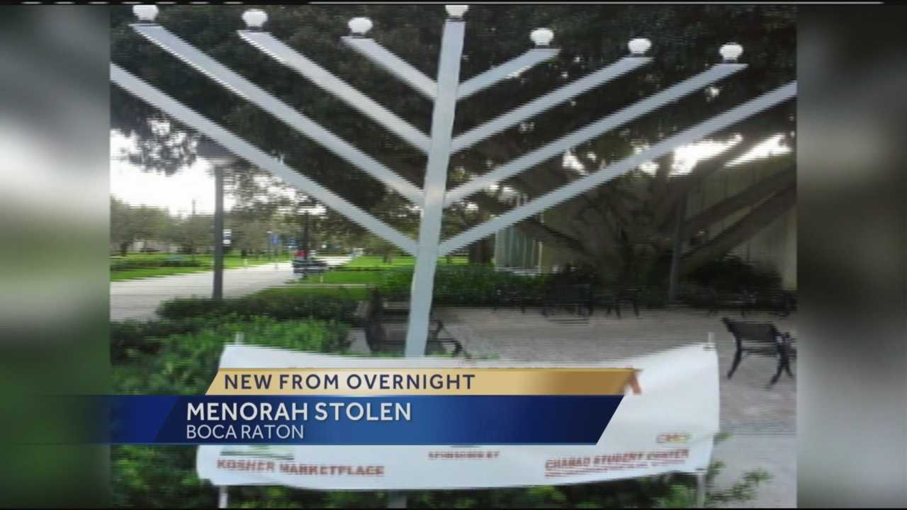 Rabbi Boruuch Liberow had a 9-foot menorah stolen from his yard in Boca Raton.