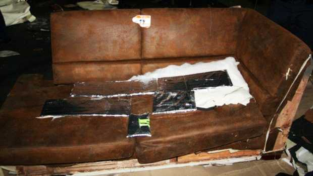 This is one of the sofas that authorities say had heroin hidden inside.