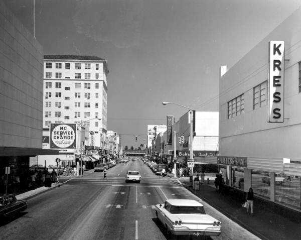 View down Clematis Street, 1967. Photographer: Charles Barron