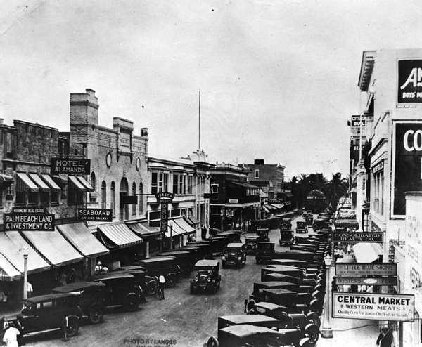 View of the 200 block of Clematis Street, 1925.