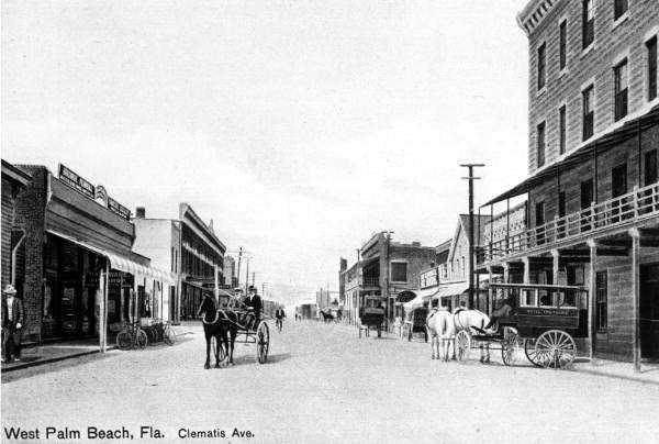 View of Clematis Street, pre-1910.