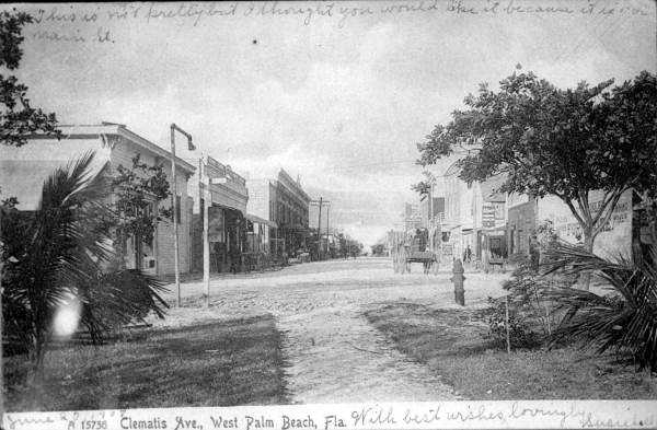 View down Clematis Street, 1907.