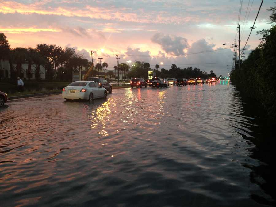 Chris McGrath saw some flooding on Jog Road in Delray Beach on Friday morning.